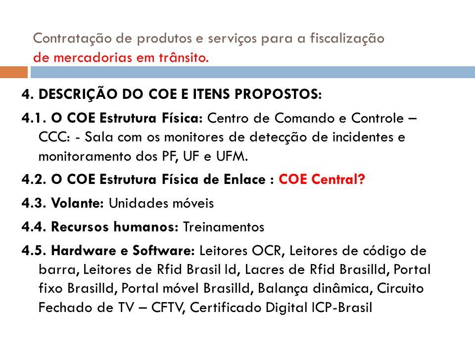 4. DESCRIÇÃO DO COE E ITENS PROPOSTOS: 4.1. O COE Estrutura Física: Centro de Comando e Controle – CCC: - Sala com os monitores de detecção de inciden