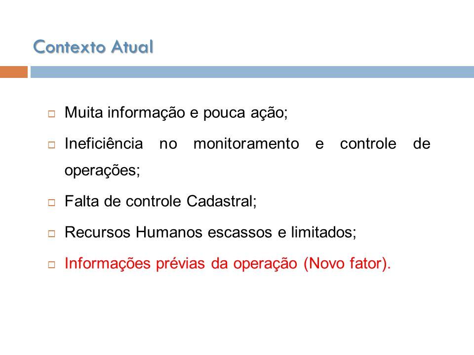 Muita informação e pouca ação; Ineficiência no monitoramento e controle de operações; Falta de controle Cadastral; Recursos Humanos escassos e limitad