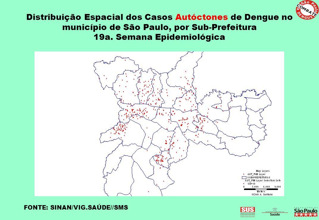 Distribuição Espacial dos Casos Autóctones de Dengue no município de São Paulo, por Sub-Prefeitura 19a. Semana Epidemiológica FONTE: SINAN/VIG.SAÚDE//
