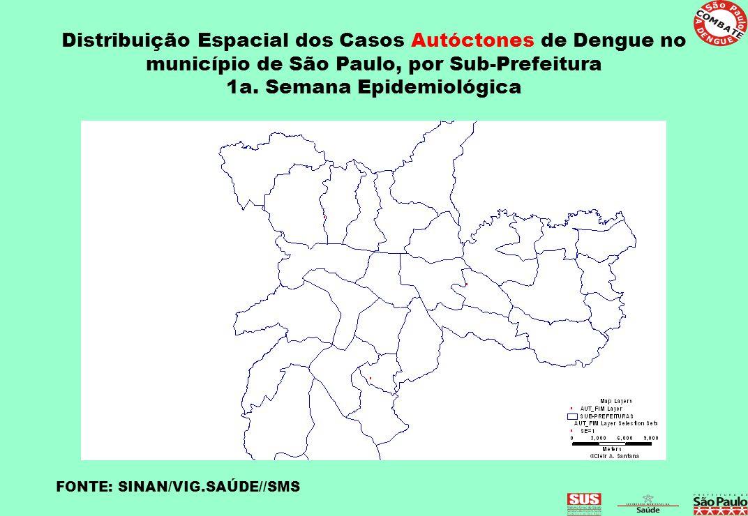 Distribuição Espacial dos Casos Autóctones de Dengue no município de São Paulo, por Sub-Prefeitura 1a. Semana Epidemiológica FONTE: SINAN/VIG.SAÚDE//S