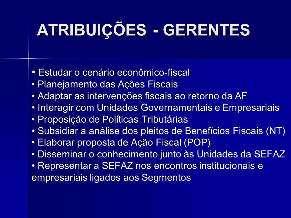 ATRIBUIÇÕES - GERENTES Estudar o cenário econômico-fiscal Planejamento das Ações Fiscais Adaptar as intervenções fiscais ao retorno da AF Interagir co