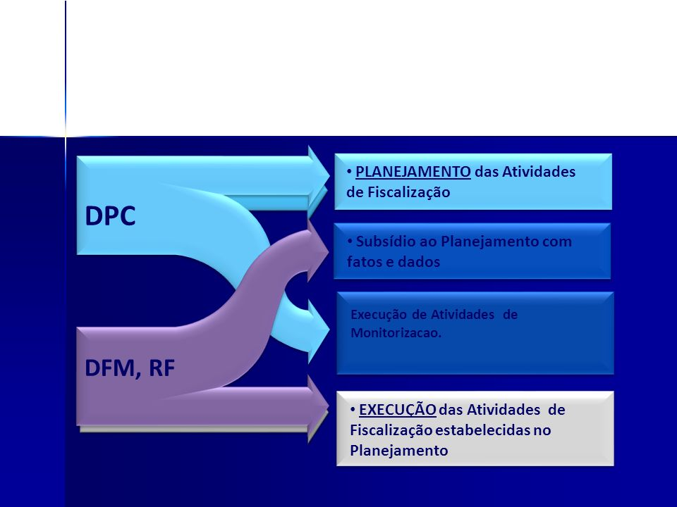 DPC DFM, RF´S PLANEJAMENTO das Atividades de Fiscalização EXECUÇÃO das Atividades de Fiscalização estabelecidas no Planejamento DPC DFM, RF Subsídio a