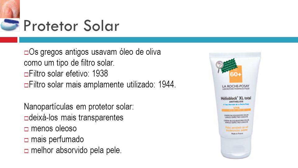 Protetor Solar Os gregos antigos usavam óleo de oliva como um tipo de filtro solar. Filtro solar efetivo: 1938 Filtro solar mais amplamente utilizado: