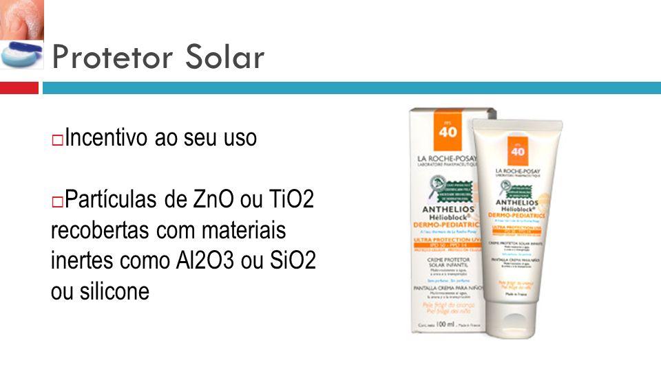 Protetor Solar Incentivo ao seu uso Partículas de ZnO ou TiO2 recobertas com materiais inertes como Al2O3 ou SiO2 ou silicone
