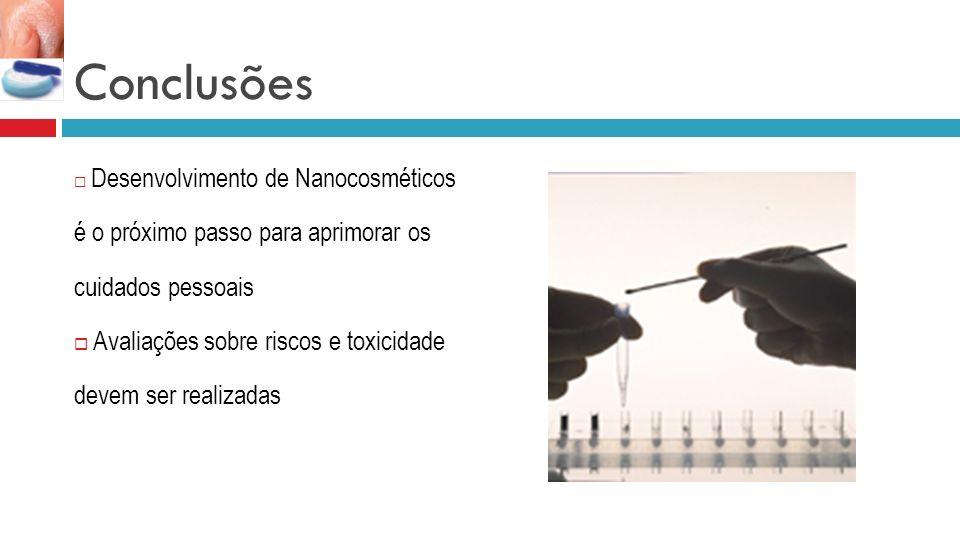 Conclusões Desenvolvimento de Nanocosméticos é o próximo passo para aprimorar os cuidados pessoais Avaliações sobre riscos e toxicidade devem ser realizadas
