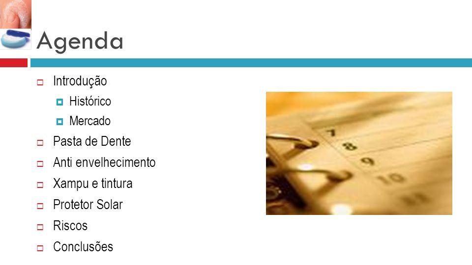 Agenda Introdução Histórico Mercado Pasta de Dente Anti envelhecimento Xampu e tintura Protetor Solar Riscos Conclusões