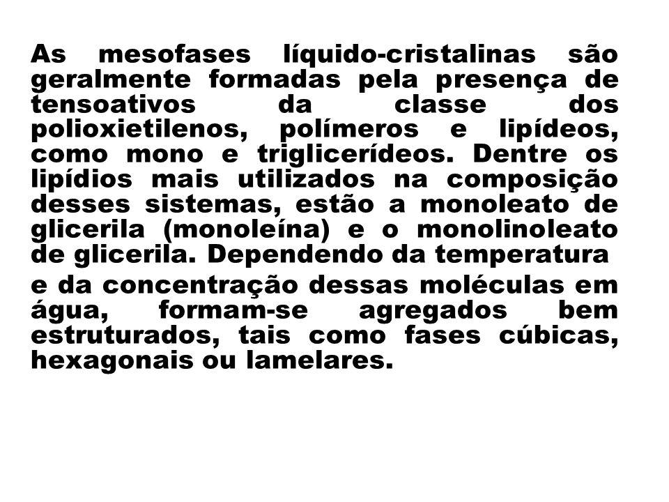 As mesofases líquido-cristalinas são geralmente formadas pela presença de tensoativos da classe dos polioxietilenos, polímeros e lipídeos, como mono e