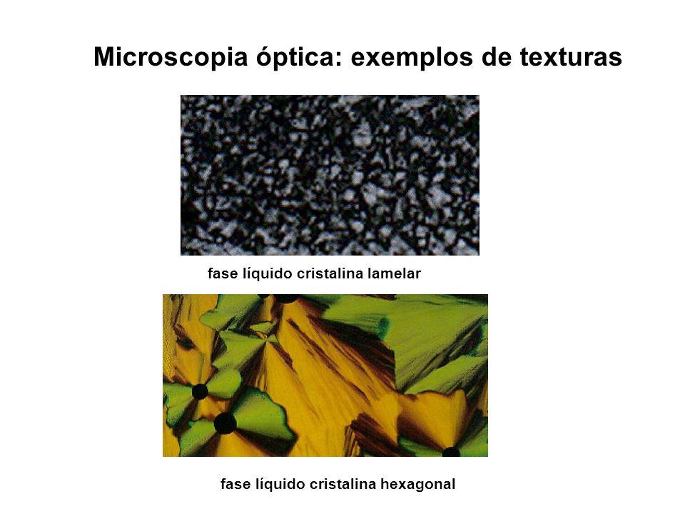 Microscopia óptica: exemplos de texturas fase líquido cristalina hexagonal fase líquido cristalina lamelar