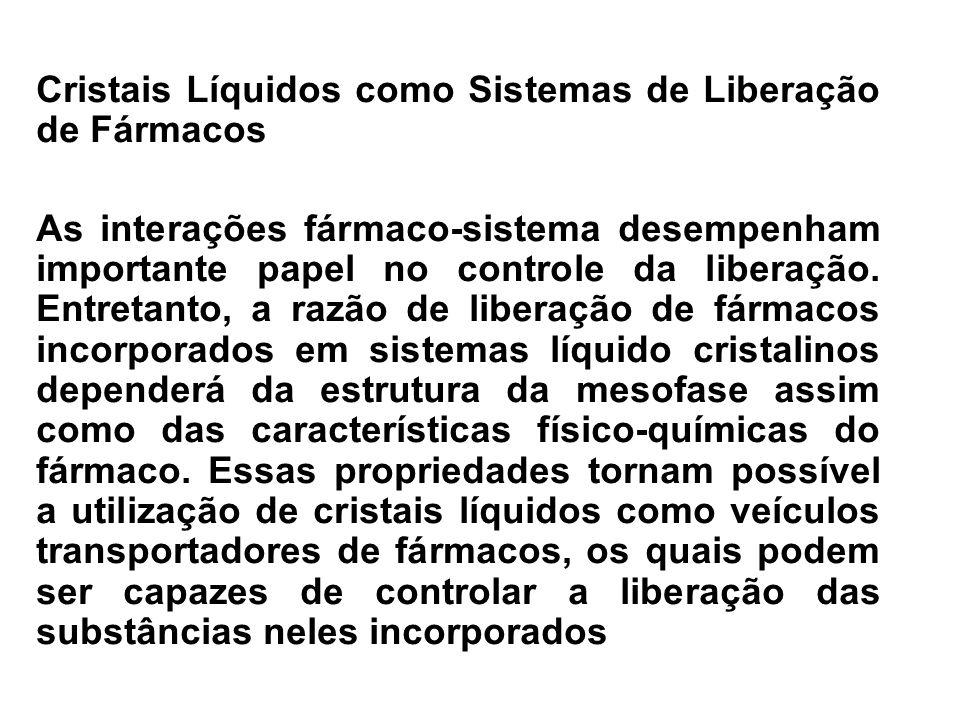 Cristais Líquidos como Sistemas de Liberação de Fármacos As interações fármaco-sistema desempenham importante papel no controle da liberação. Entretan