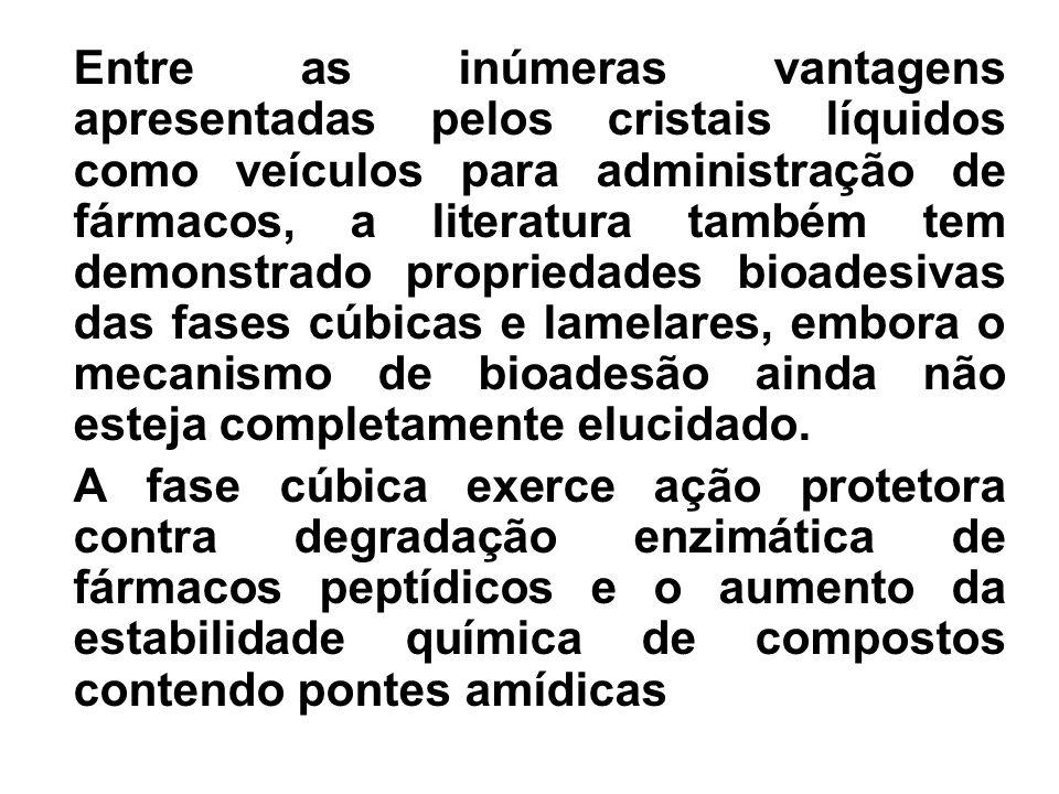 Entre as inúmeras vantagens apresentadas pelos cristais líquidos como veículos para administração de fármacos, a literatura também tem demonstrado pro