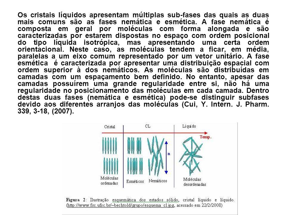 Os cristais líquidos apresentam múltiplas sub-fases das quais as duas mais comuns são as fases nemática e esmética. A fase nemática é composta em gera