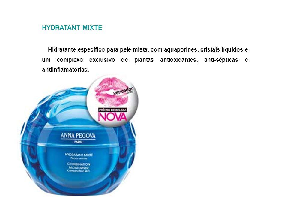 HYDRATANT MIXTE Hidratante específico para pele mista, com aquaporines, cristais líquidos e um complexo exclusivo de plantas antioxidantes, anti-sépti