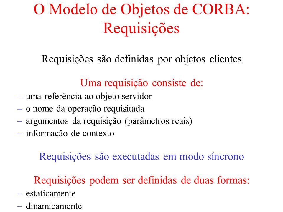 O Modelo de Objetos de CORBA: Requisições Requisições são definidas por objetos clientes Uma requisição consiste de: –uma referência ao objeto servido