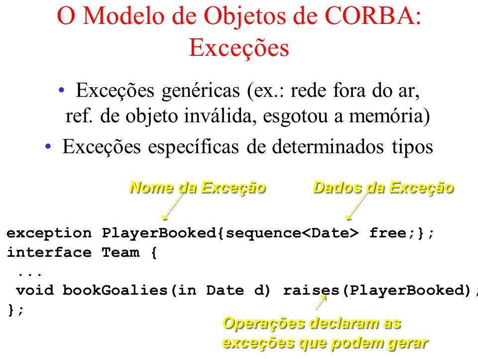 O Modelo de Objetos de CORBA: Exceções Exceções genéricas (ex.: rede fora do ar, ref. de objeto inválida, esgotou a memória) Exceções específicas de d