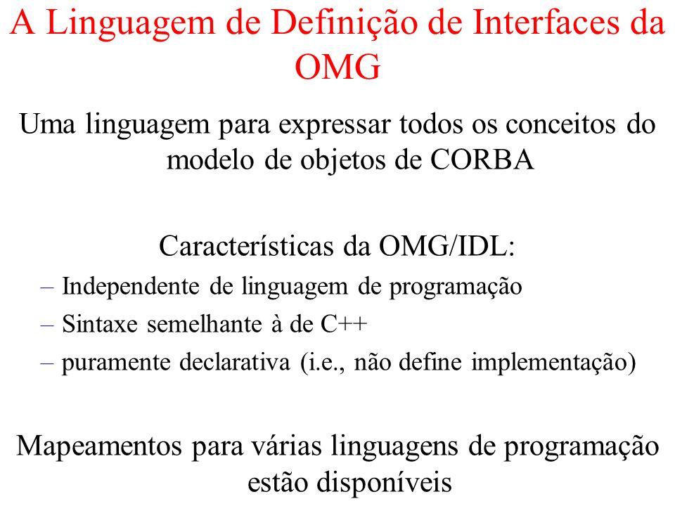 A Linguagem de Definição de Interfaces da OMG Uma linguagem para expressar todos os conceitos do modelo de objetos de CORBA Características da OMG/IDL