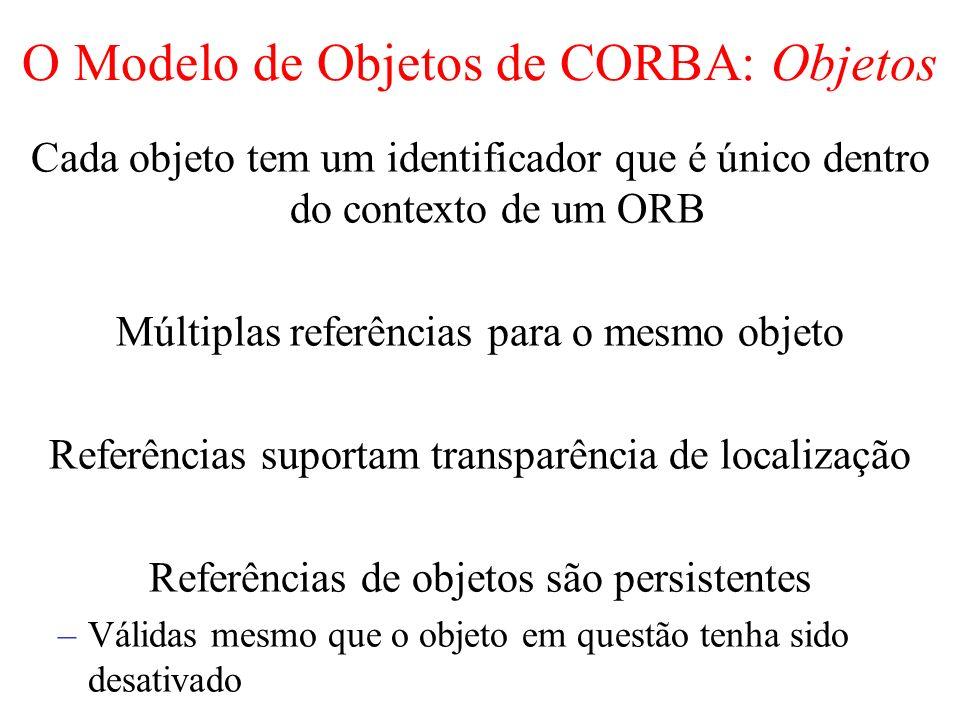 O Modelo de Objetos de CORBA: Objetos Cada objeto tem um identificador que é único dentro do contexto de um ORB Múltiplas referências para o mesmo obj