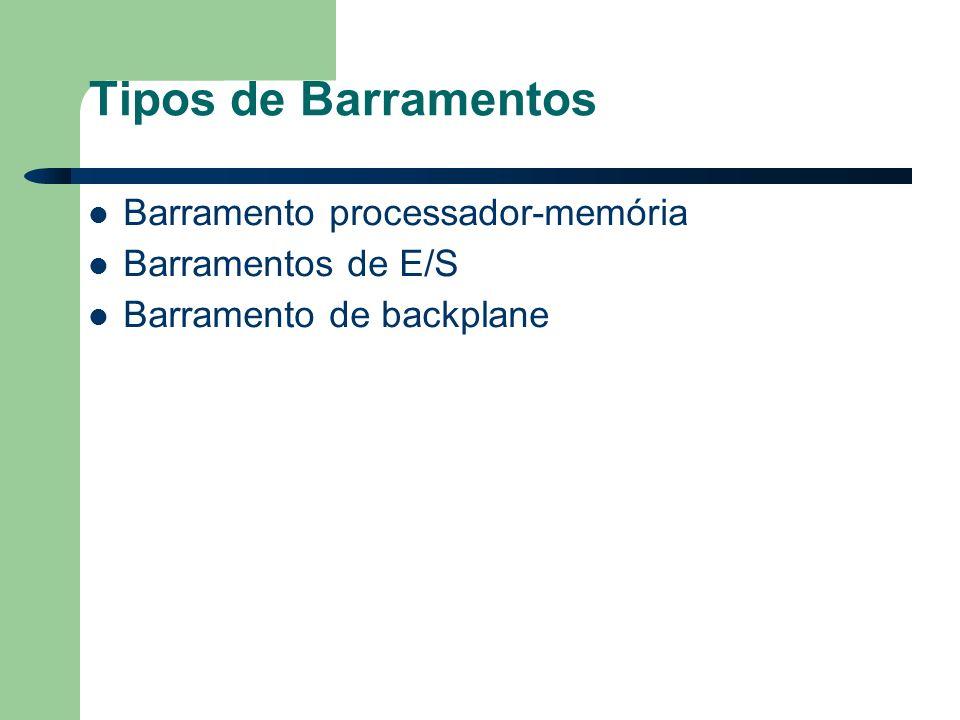Tipos de Barramentos Barramento processador-memória Barramentos de E/S Barramento de backplane