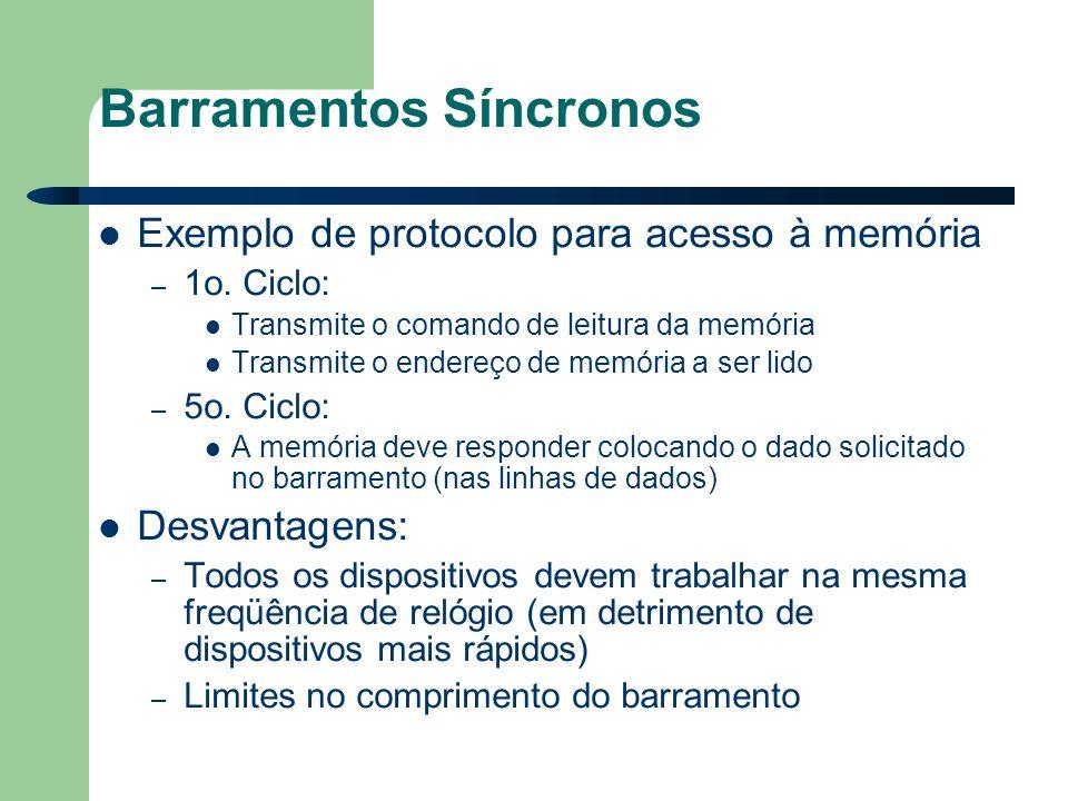 Barramentos Síncronos Exemplo de protocolo para acesso à memória – 1o.