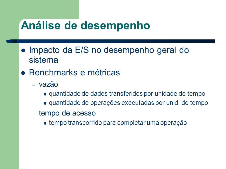 Análise de desempenho Impacto da E/S no desempenho geral do sistema Benchmarks e métricas – vazão quantidade de dados transferidos por unidade de tempo quantidade de operações executadas por unid.