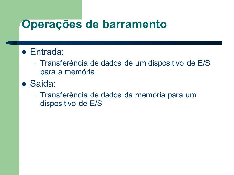 Operações de barramento Entrada: – Transferência de dados de um dispositivo de E/S para a memória Saída: – Transferência de dados da memória para um dispositivo de E/S