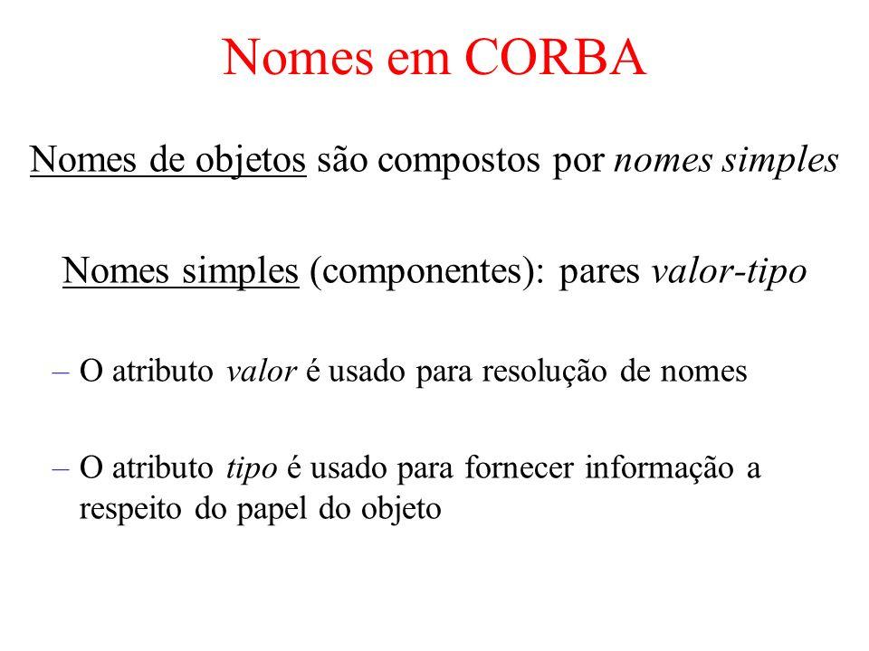 Nomes em CORBA Nomes de objetos são compostos por nomes simples Nomes simples (componentes): pares valor-tipo –O atributo valor é usado para resolução
