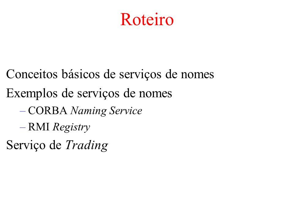 Roteiro Conceitos básicos de serviços de nomes Exemplos de serviços de nomes –CORBA Naming Service –RMI Registry Serviço de Trading