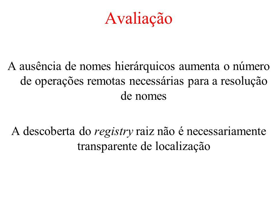 Avaliação A ausência de nomes hierárquicos aumenta o número de operações remotas necessárias para a resolução de nomes A descoberta do registry raiz n