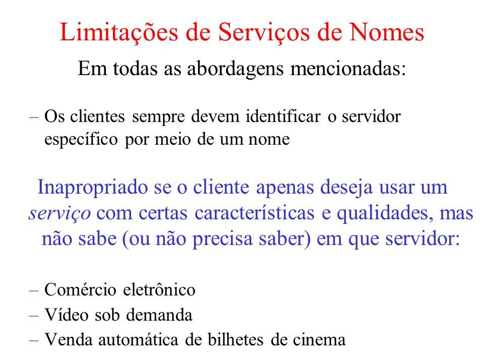 Limitações de Serviços de Nomes Em todas as abordagens mencionadas: –Os clientes sempre devem identificar o servidor específico por meio de um nome In