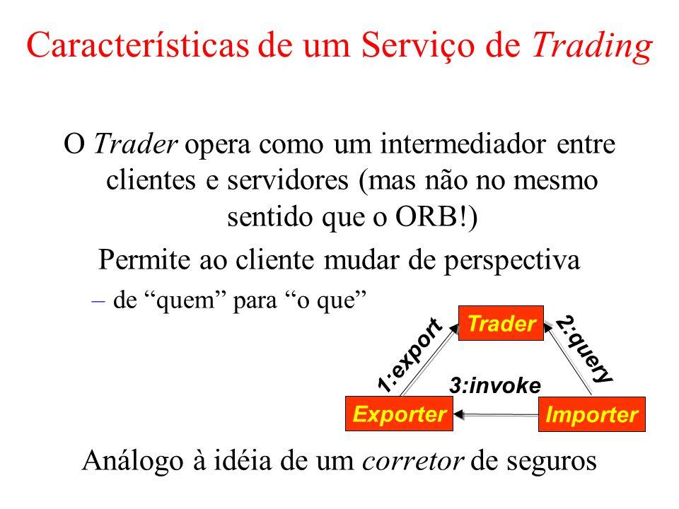 Características de um Serviço de Trading O Trader opera como um intermediador entre clientes e servidores (mas não no mesmo sentido que o ORB!) Permit