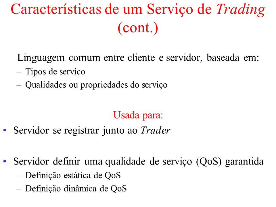 Características de um Serviço de Trading (cont.) Linguagem comum entre cliente e servidor, baseada em: –Tipos de serviço –Qualidades ou propriedades d