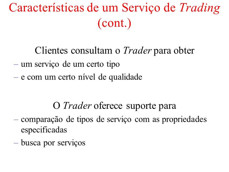 Características de um Serviço de Trading (cont.) Clientes consultam o Trader para obter –um serviço de um certo tipo –e com um certo nível de qualidad