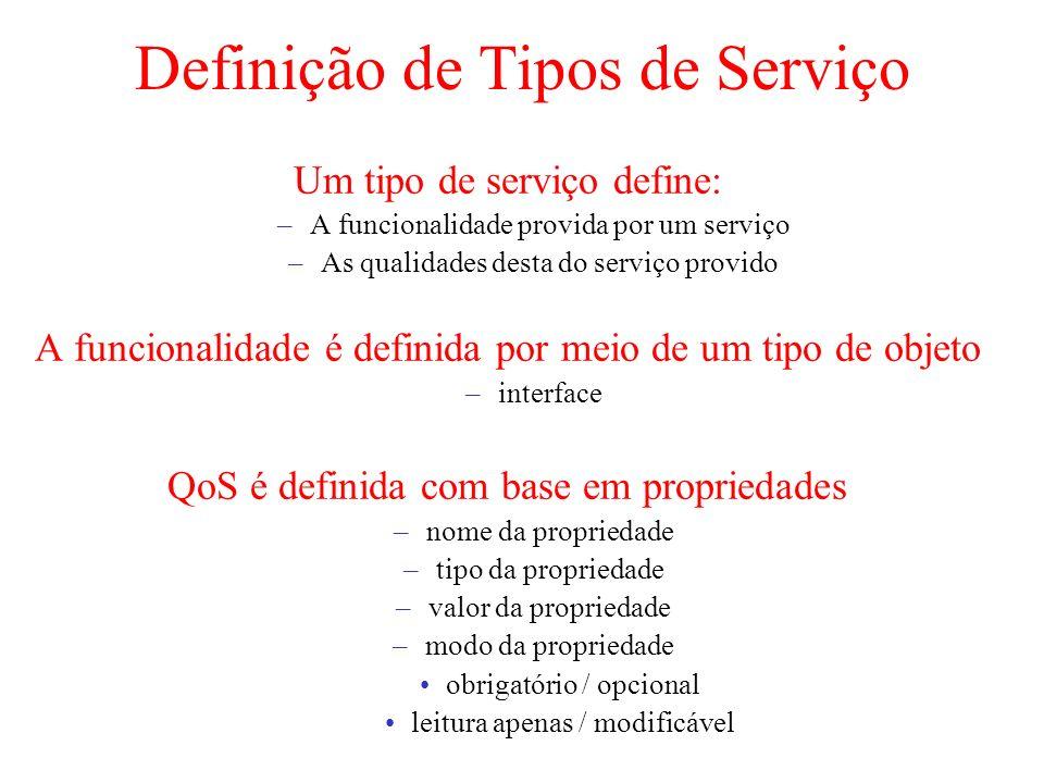Definição de Tipos de Serviço Um tipo de serviço define: –A funcionalidade provida por um serviço –As qualidades desta do serviço provido A funcionali