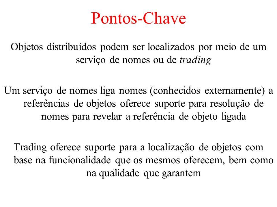 Pontos-Chave Objetos distribuídos podem ser localizados por meio de um serviço de nomes ou de trading Um serviço de nomes liga nomes (conhecidos exter