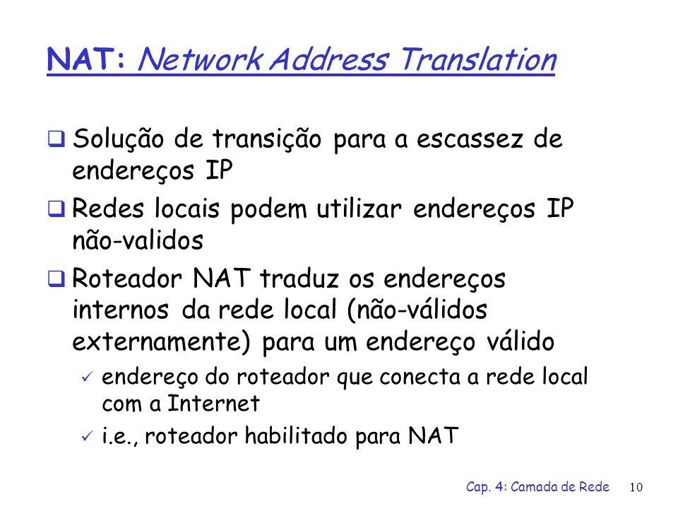 Cap. 4: Camada de Rede10 NAT: Network Address Translation Solução de transição para a escassez de endereços IP Redes locais podem utilizar endereços I