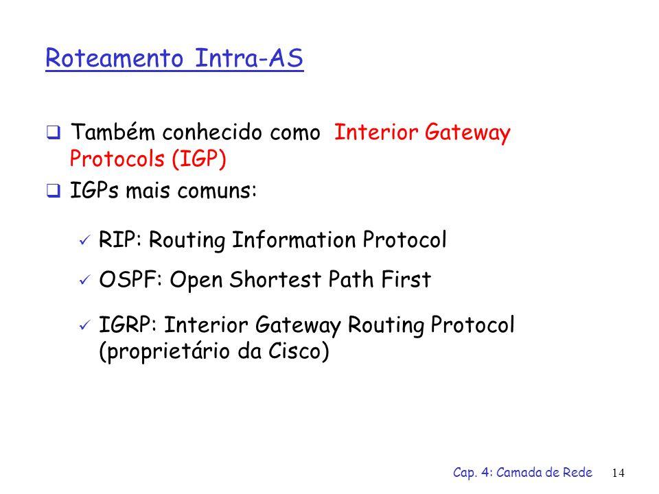 Cap. 4: Camada de Rede14 Roteamento Intra-AS Também conhecido como Interior Gateway Protocols (IGP) IGPs mais comuns: RIP: Routing Information Protoco
