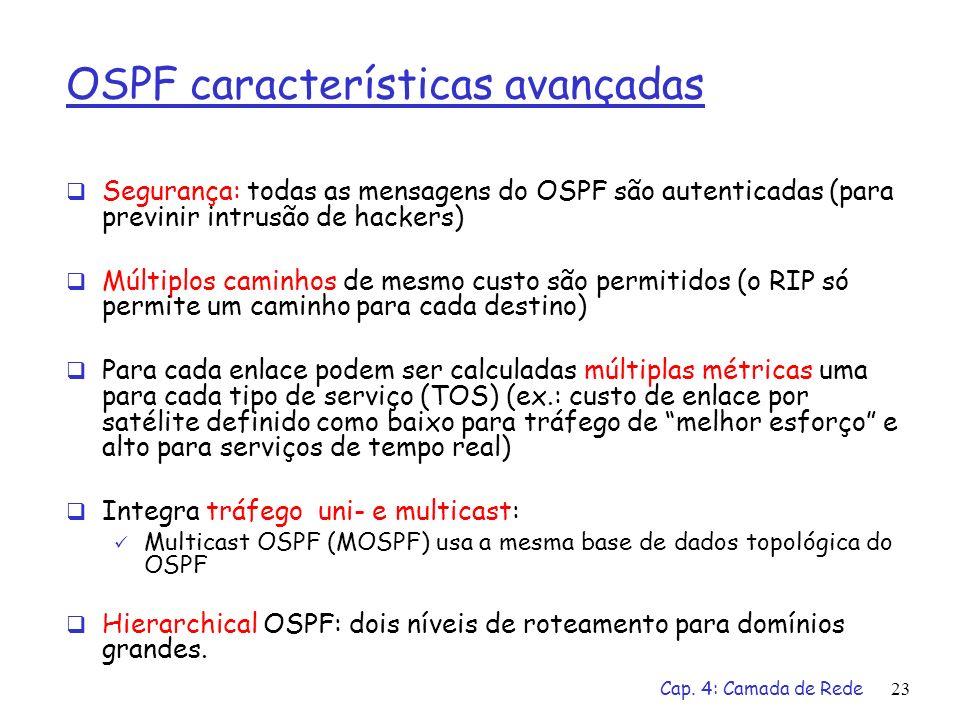 Cap. 4: Camada de Rede23 OSPF características avançadas Segurança: todas as mensagens do OSPF são autenticadas (para previnir intrusão de hackers) Múl