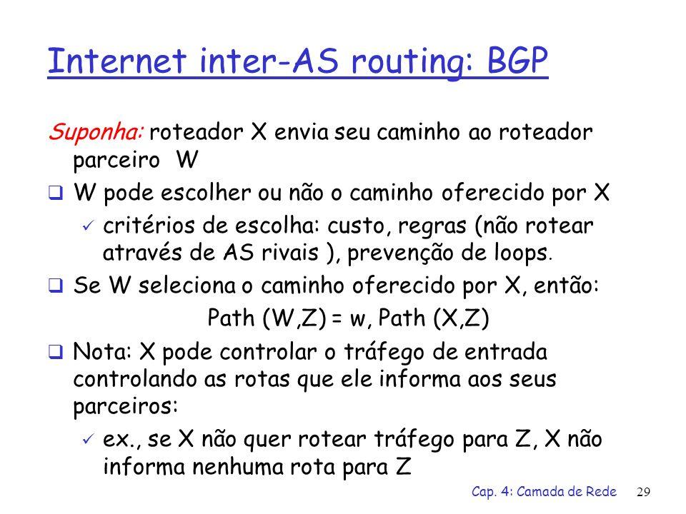 Cap. 4: Camada de Rede29 Internet inter-AS routing: BGP Suponha: roteador X envia seu caminho ao roteador parceiro W W pode escolher ou não o caminho