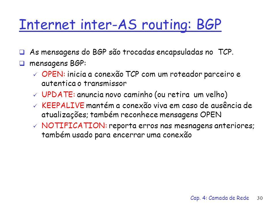 Cap. 4: Camada de Rede30 Internet inter-AS routing: BGP As mensagens do BGP são trocadas encapsuladas no TCP. mensagens BGP: OPEN: inicia a conexão TC