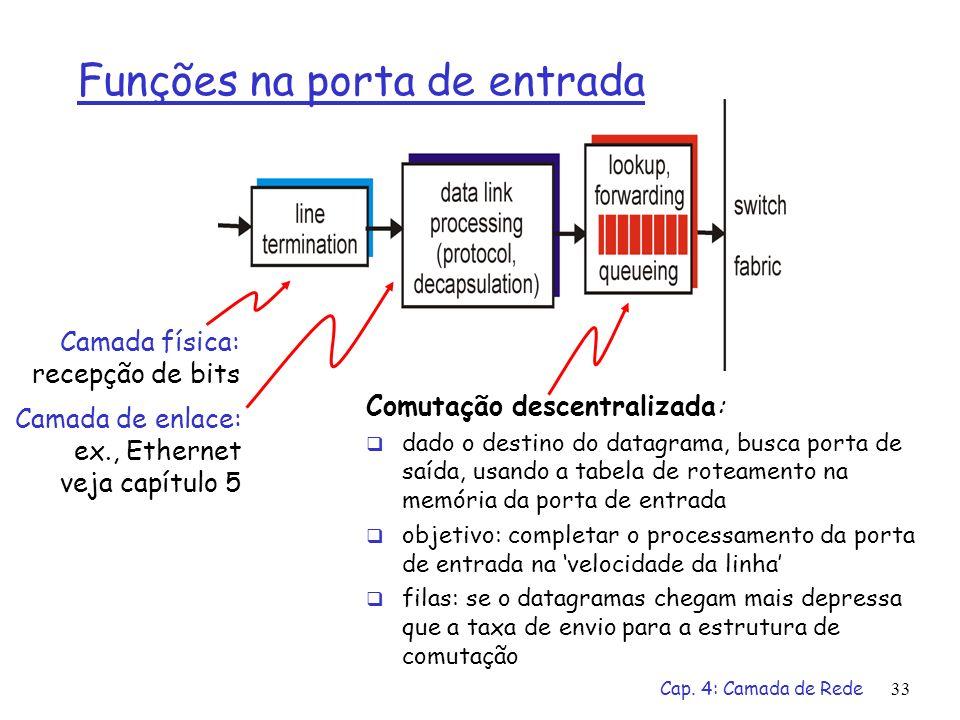 Cap. 4: Camada de Rede33 Funções na porta de entrada Comutação descentralizada: dado o destino do datagrama, busca porta de saída, usando a tabela de