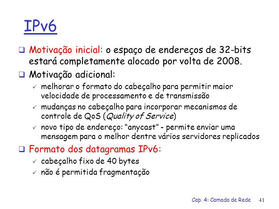 Cap. 4: Camada de Rede41 IPv6 Motivação inicial: o espaço de endereços de 32-bits estará completamente alocado por volta de 2008. Motivação adicional: