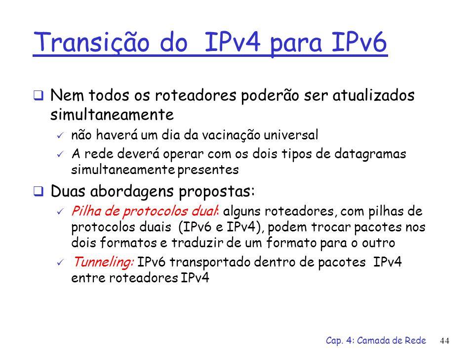 Cap. 4: Camada de Rede44 Transição do IPv4 para IPv6 Nem todos os roteadores poderão ser atualizados simultaneamente não haverá um dia da vacinação un