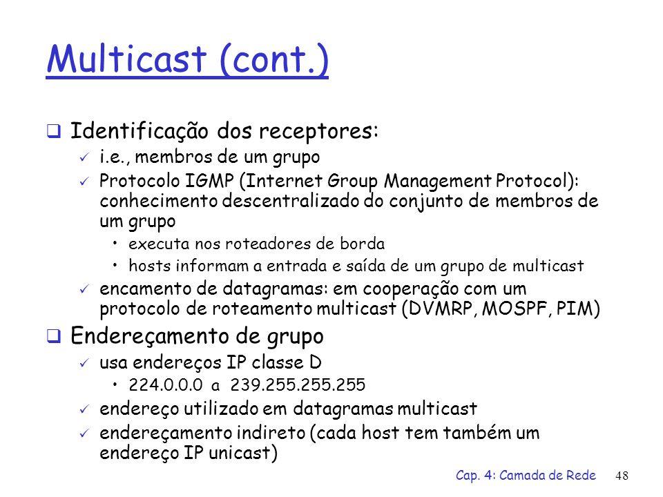 Cap. 4: Camada de Rede48 Multicast (cont.) Identificação dos receptores: i.e., membros de um grupo Protocolo IGMP (Internet Group Management Protocol)