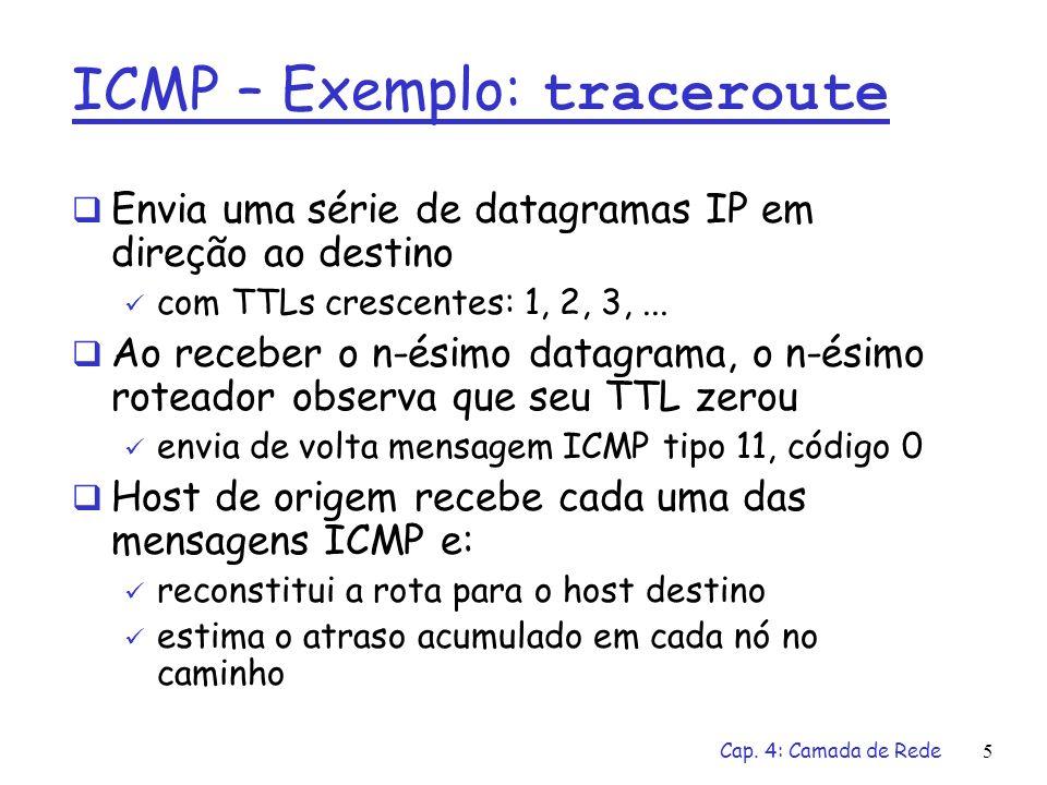 Cap. 4: Camada de Rede5 ICMP – Exemplo: traceroute Envia uma série de datagramas IP em direção ao destino com TTLs crescentes: 1, 2, 3,... Ao receber