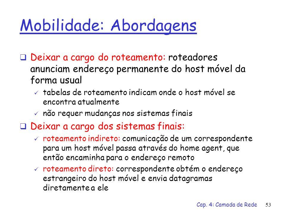 Cap. 4: Camada de Rede53 Mobilidade: Abordagens Deixar a cargo do roteamento: roteadores anunciam endereço permanente do host móvel da forma usual tab