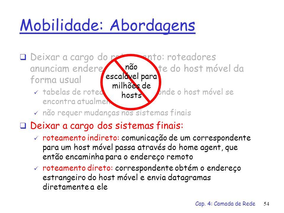 Cap. 4: Camada de Rede54 Mobilidade: Abordagens Deixar a cargo do roteamento: roteadores anunciam endereço permanente do host móvel da forma usual tab