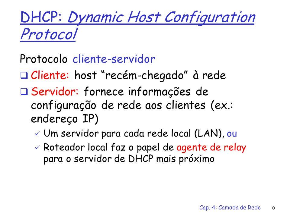 Cap. 4: Camada de Rede6 DHCP: Dynamic Host Configuration Protocol Protocolo cliente-servidor Cliente: host recém-chegado à rede Servidor: fornece info