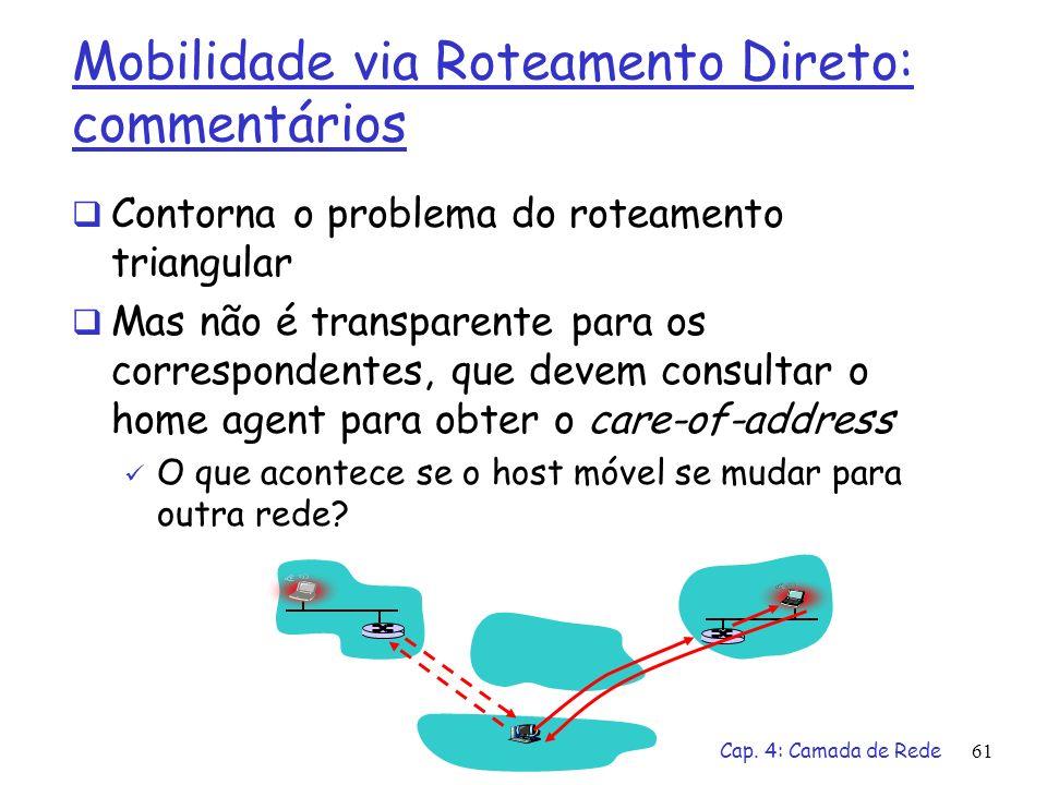 Cap. 4: Camada de Rede61 Mobilidade via Roteamento Direto: commentários Contorna o problema do roteamento triangular Mas não é transparente para os co