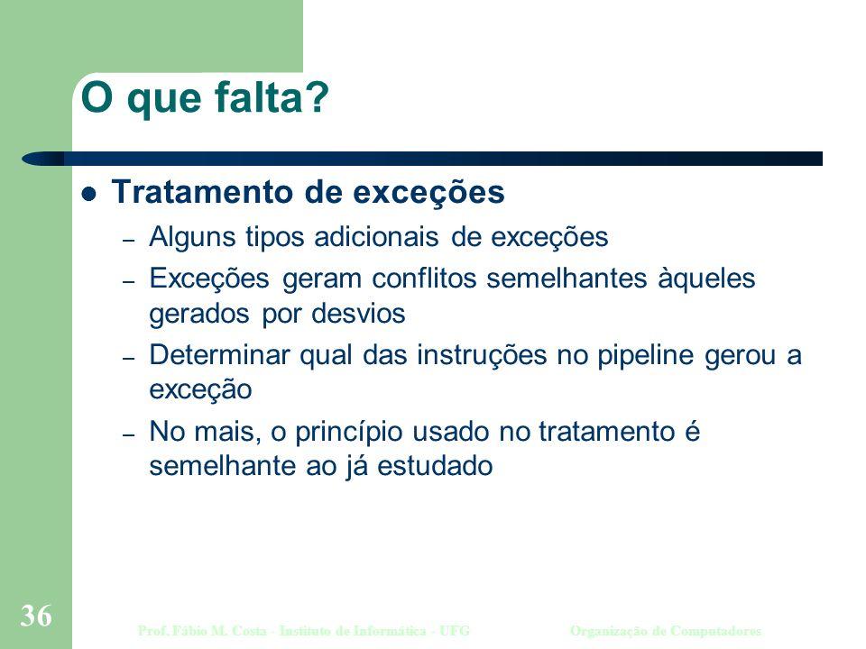 Prof. Fábio M. Costa - Instituto de Informática - UFGOrganização de Computadores 36 O que falta.