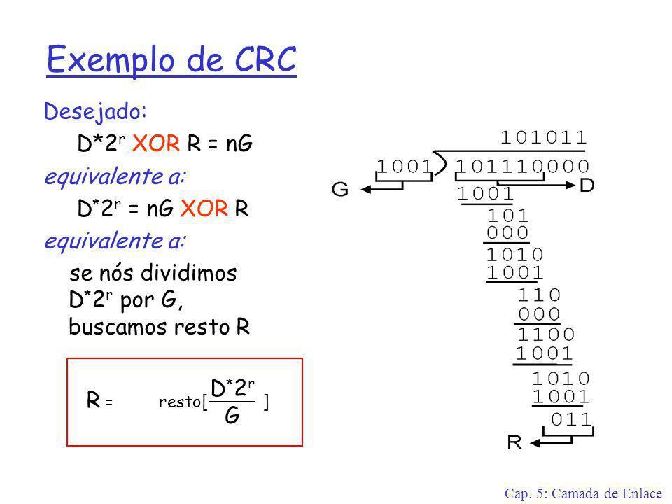 Cap. 5: Camada de Enlace Exemplo de CRC Desejado: D*2 r XOR R = nG equivalente a: D * 2 r = nG XOR R equivalente a: se nós dividimos D * 2 r por G, bu