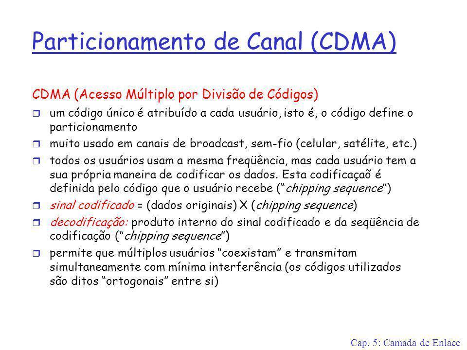 Cap. 5: Camada de Enlace Particionamento de Canal (CDMA) CDMA (Acesso Múltiplo por Divisão de Códigos) r um código único é atribuído a cada usuário, i